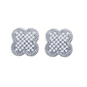1/4 Carat Micro Pave Diamond 10k White Gold Clover Earrings: