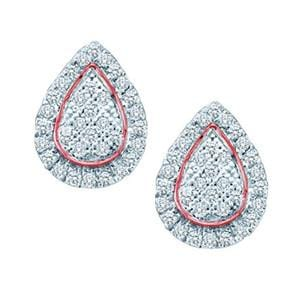 1/5 Carat Diamond 10k Rose / Pink White Gold Pear-Shaped Earrings: