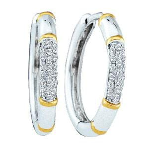 1/8 Carat Pave Diamond 14k Two Tone Gold Hoop Earrings: