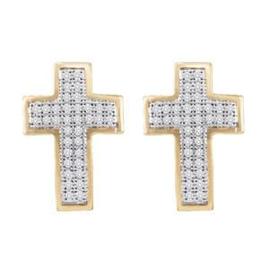 1/5 Carat Diamond 10k Yellow Gold Cross Stud Earrings: