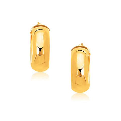 14K Yellow Gold Wide Medium Hoop Earrings with Snap Lock