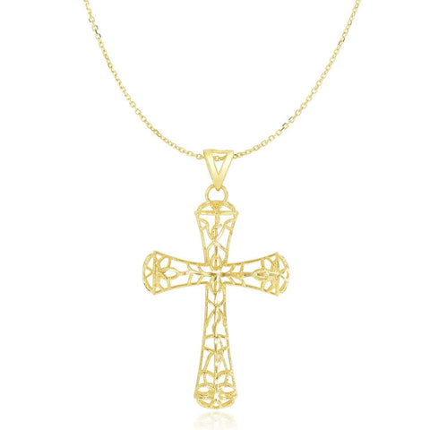 14K Yellow Gold Cross Pendant with Filigree Design 18 inches
