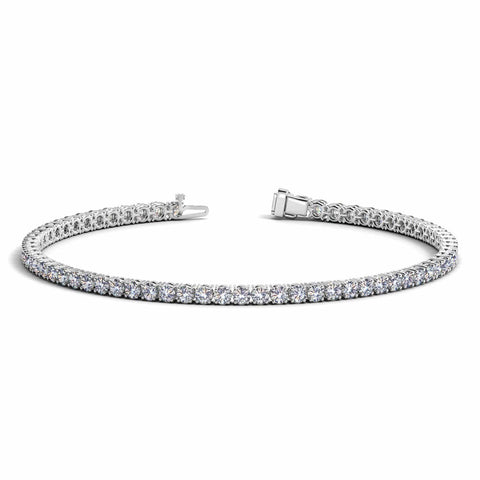 14K White Gold Round Diamond Tennis Bracelet 3 ct. tw. 7 inches