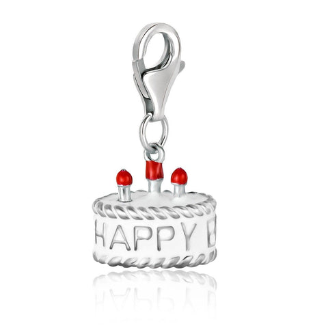 Sterling Silver Birthday Cake White Enameled Charm
