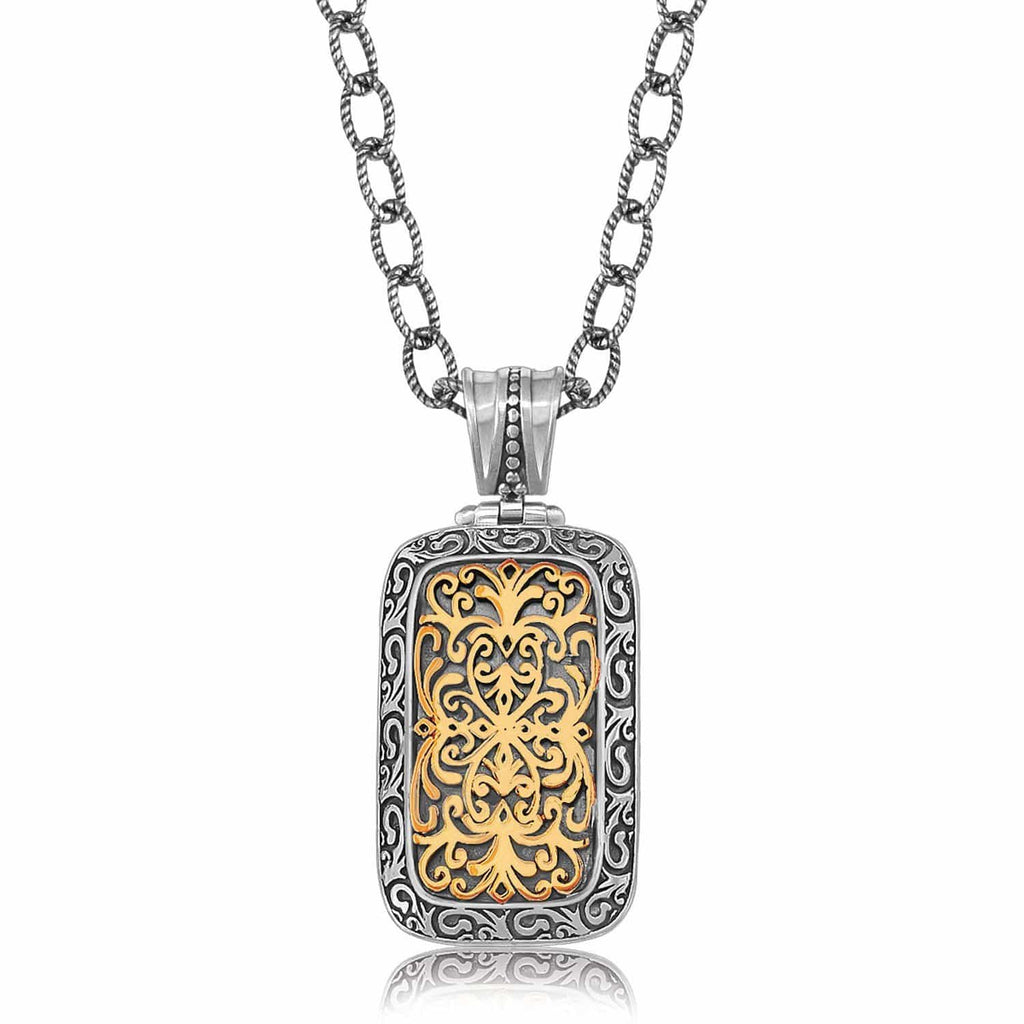 18K Yellow Gold and Sterling Silver Ornate Rounded Rectangle Pendant 18 inches