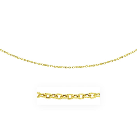 3.5mm 14K Yellow Gold Pendant Chain with Textured Links 20 inches