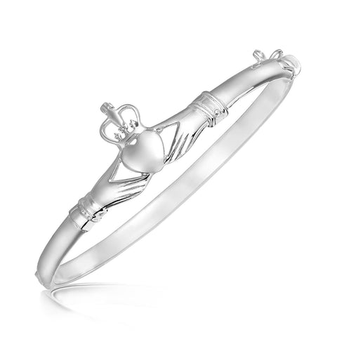 Sterling Silver Claddagh Style Thin Bangle with Rhodium Plating 7 inches