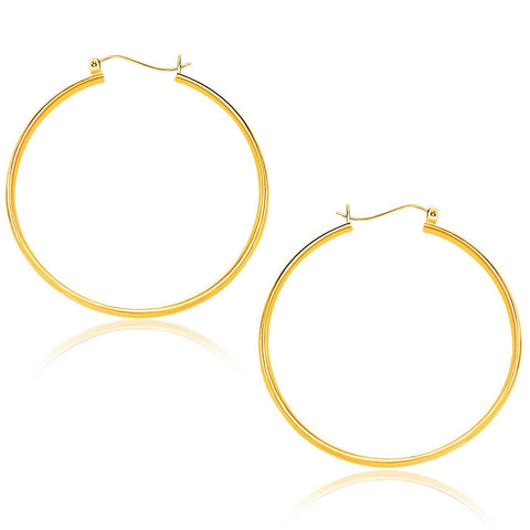 14K Yellow Gold Polished Hoop Earrings 40mm