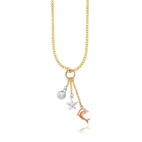 14K Tri-Color Gold Sea Life Drop Pendant Necklace 18 inches