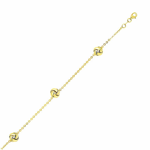 14K Yellow Gold Shiny Love Knot Station Chain Bracelet 7.25 inches
