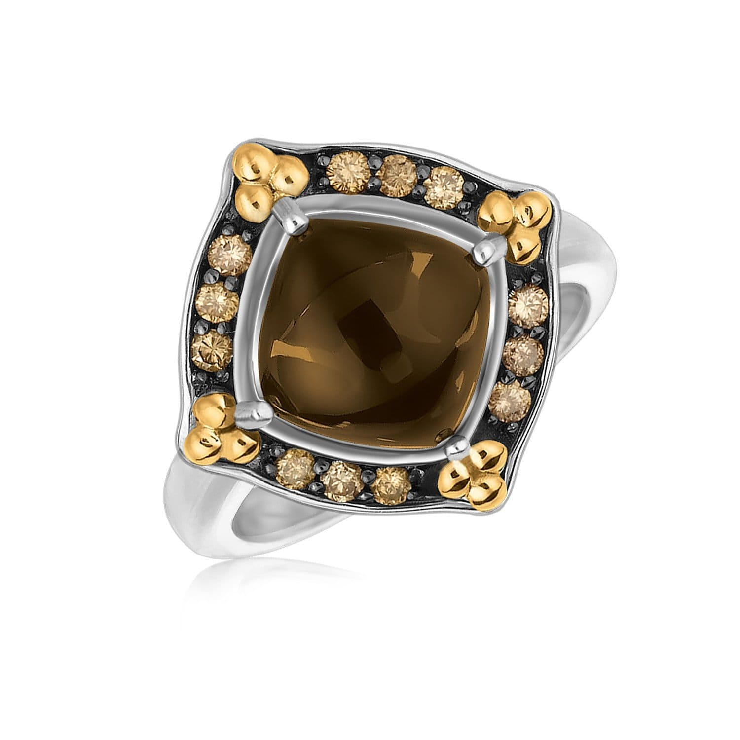 18K Yellow Gold and Sterling Silver Smokey Quartz and Coffee Diamonds Ring Size 9