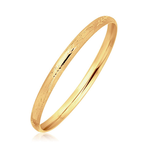 14K Yellow Gold Dome Style Children's Bangle with Diamond Cuts 5.5 inches