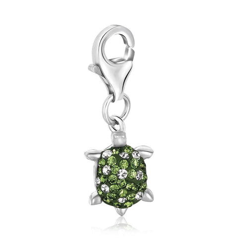 Sterling Silver Green Tone Crystal Embellished Tortoise Charm