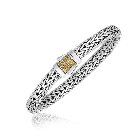 Sterling Silver Braided Motif Men's Bracelet with Yellow Tone Sapphire Accents 7.5 inches