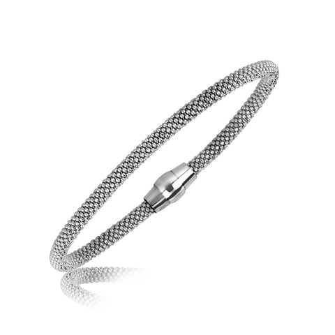 Sterling Silver Slender Popcorn Motif Bangle with Rhodium Plating 7.5 inches