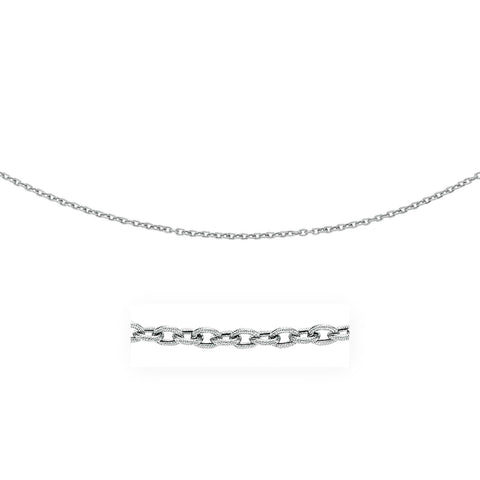 3.5mm 14K White Gold Pendant Chain with Textured Links 18 inches