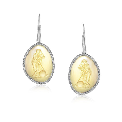 Sterling Silver Venetian Glass Cameo Earrings