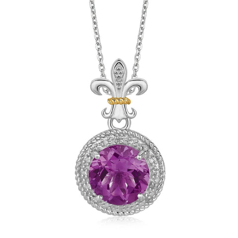 18K Yellow Gold and Sterling Silver Amethyst and Diamonds Fleur De Lis Pendant 18 inches