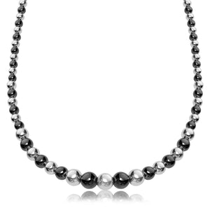 Sterling Silver Rhodium and Ruthenium Plated Graduated Polished Bead Necklace 18 inches