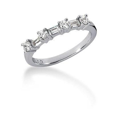 14K White Gold Seven Diamond Wedding Ring Band with Round and Baguette Diamonds Size 9
