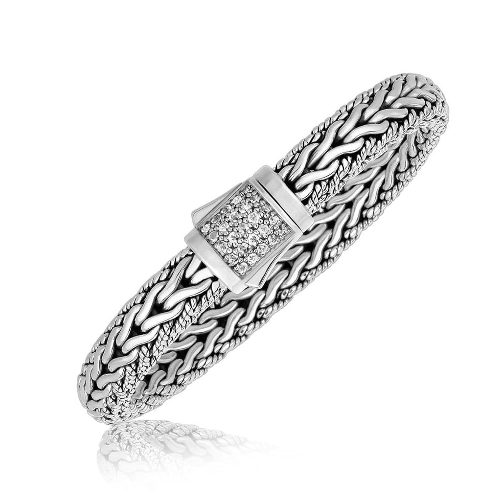 Sterling Silver Braided Design Men's Bracelet with White Sapphire Stones 8.25 inches