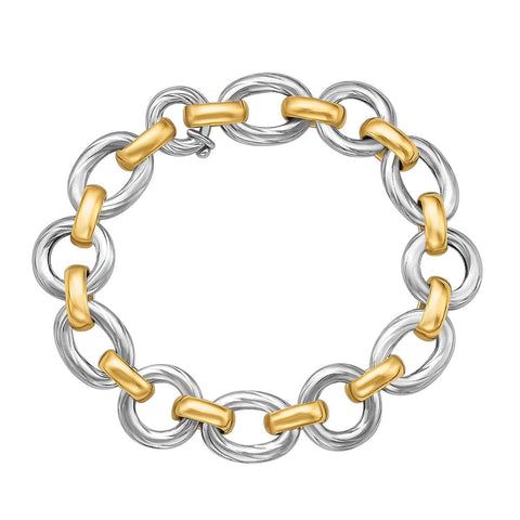 18K Yellow Gold and Sterling Silver Diamond Cut Rhodium Plated Bracelet 7.5 inches