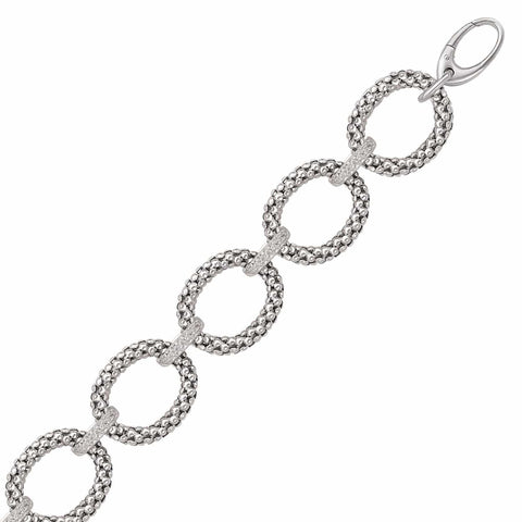 Sterling Silver Popcorn Ring Chain Bracelet with Diamond Accents .17 ct. tw. 8 inches