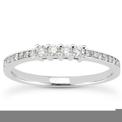 14K White Gold Wedding Band with Pave Set Diamonds and Prong Set Diamonds Size 8