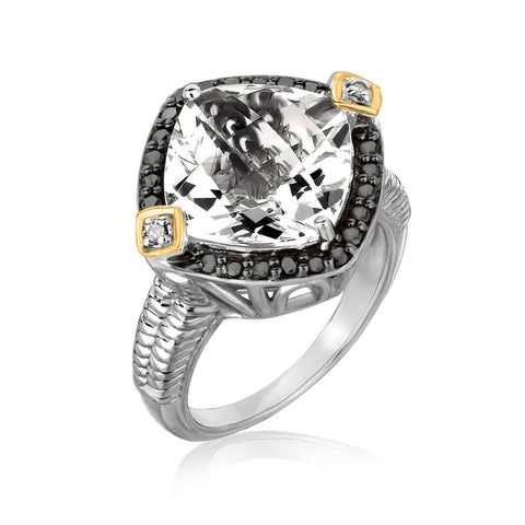 18K Yellow Gold and Sterling Silver Crystal Quartz Diamond Cushion Ring Size 9
