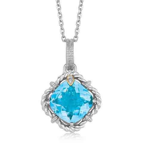 18K Yellow Gold and Sterling Silver Pendant with Cushion Blue Topaz and Diamonds 18 inches