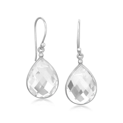 Sterling Silver Black and White Rhodium Plated Teardrop Rock Crystal Earrings
