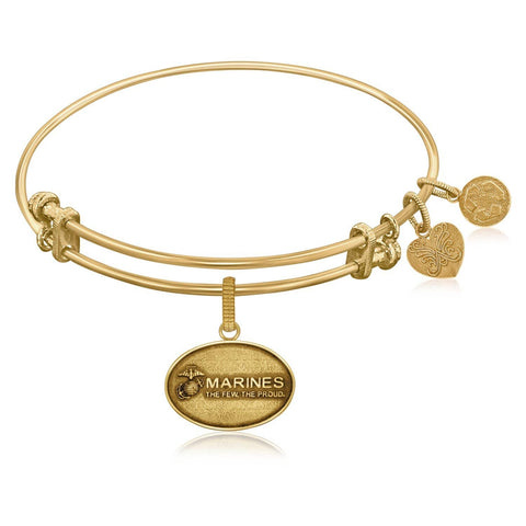 Expandable Bangle in Yellow Tone Brass with U.S. Marines The Few The Proud Symbol