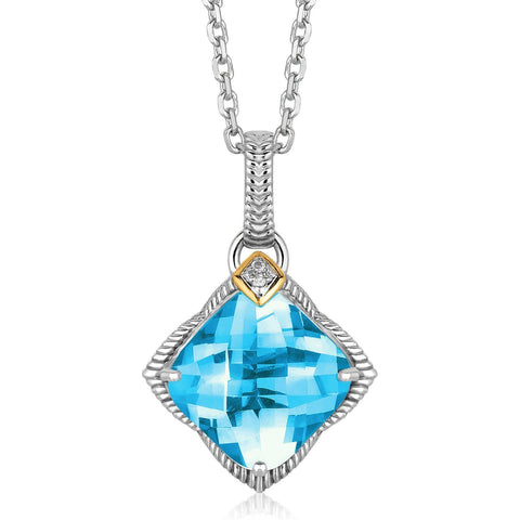18K Yellow Gold and Sterling Silver Blue Topaz and Diamond Accented Pendant 18 inches