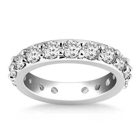 14K White Gold Round Cut Diamond Eternity Ring Size 8