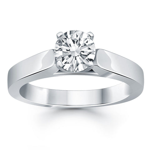 14K White Gold Wide Cathedral Solitaire Engagement Ring Size 6