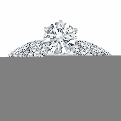 14K White Gold Triple Row Pave Diamond Engagement Ring Size 8