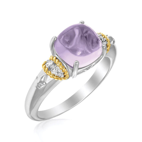 18K Yellow Gold & Sterling Silver Prong Set Square Amethyst and Diamond Ring Size 8