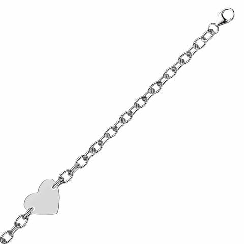 Sterling Silver Rhodium Plated Chain Bracelet with a Flat Heart Station 8 inches