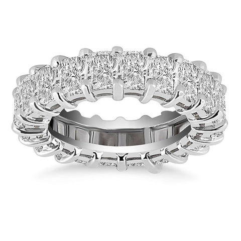 Exquisite 14K White Gold Emerald Cut Diamond Eternity Ring Size 5