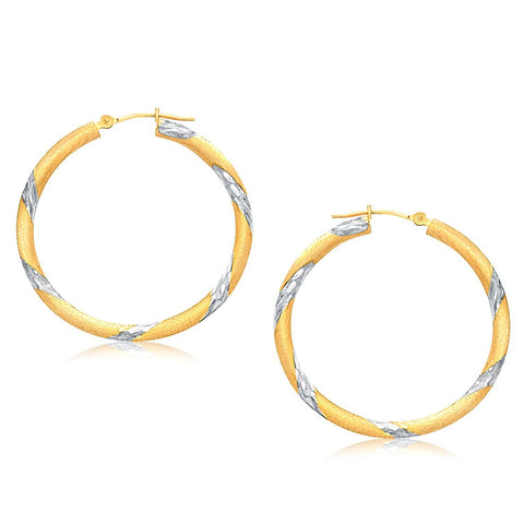14K Two Tone Gold Polished Hoop Earrings 30 mm