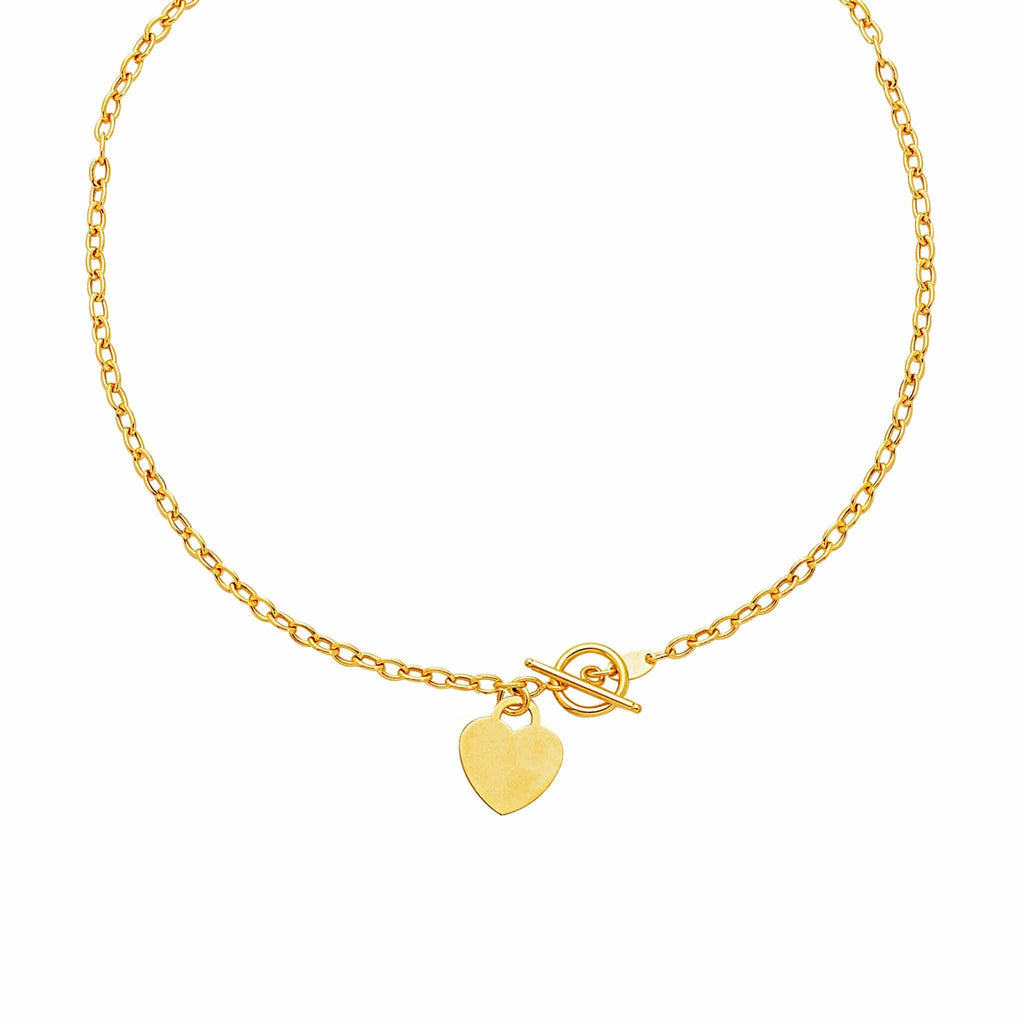 Toggle Necklace with Heart Charm in 14K Yellow Gold 17 inches