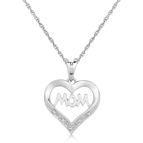 Sterling Silver MOM Heart Motif Diamond Accented Pendant .01 ct t.w. 18 inches