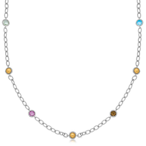 18K Yellow Gold and Sterling Silver Multi Gemstone Necklace 24 inches