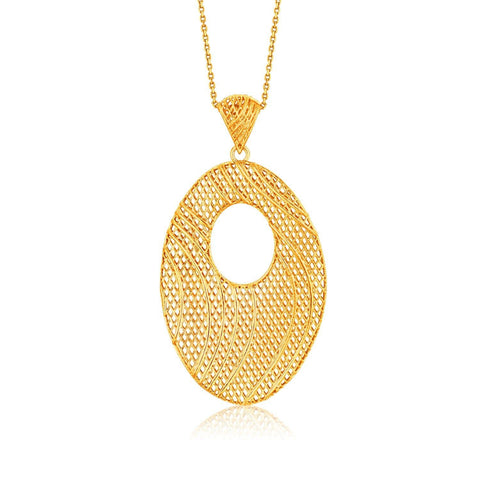 Italian Design 14K Yellow Gold Oval Lattice Long Pendant 18 inches
