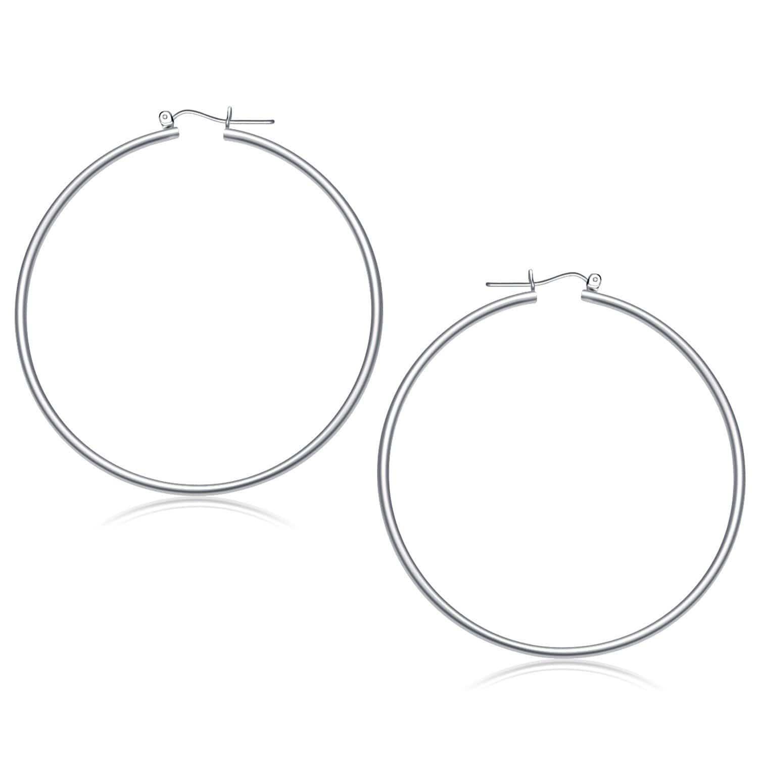 14K White Gold Polished Hoop Earrings 60 mm