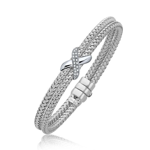 Diamond Accented X Station Weave Bangle in 14K White Gold .17 ct t.w. 7.25 inches