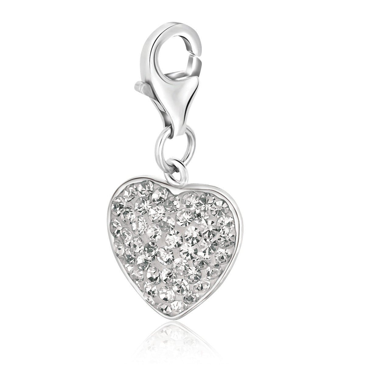 Sterling Silver Heart Charm with White Tone Crystal Accents