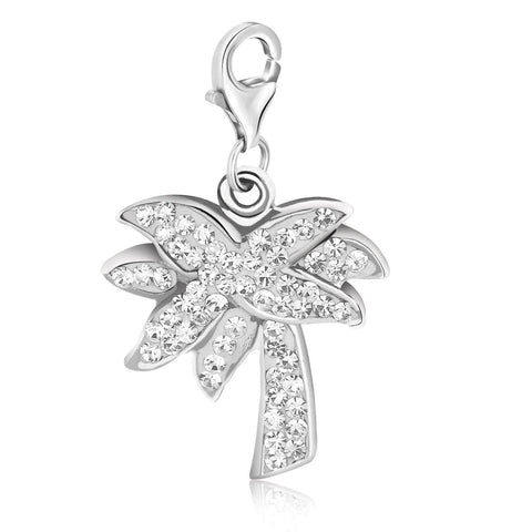Sterling Silver Palm Tree White Tone Crystal Studded Charm