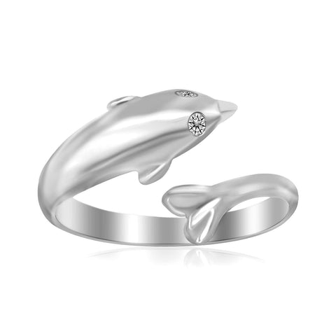 Sterling Silver Rhodium Plated Dolphin Design Polished Open Toe Ring