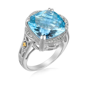18K Yellow Gold and Sterling Silver Blue Topaz and Diamond Fleur De Lis Ring Size 8